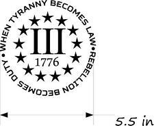 """(2) 5.5"""" 3 % Percenter Vinyl Decals Gun Rights 2nd Ammendment Car ML1"""