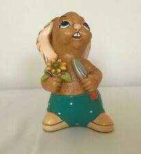 Pendelfin Stonecraft Rabbit Figurine with spade & yellow flower - Hand Painted