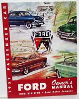 1951 Ford Pass Car 6 Cly V8 Tudor Fordor Deluxe Custom Wagon Owners Manual Repro