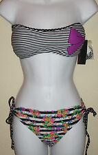 NWT MATERIAL GIRL striped swim bikini bottom & bandeau strap/strapless bra set,L