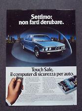 H257- Advertising Pubblicità - 1982 - TOUCH SAFE ,IL COMPUTER SICUREZZA PER AUTO