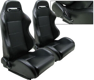 NEW 1 PAIR BLACK PVC LEATHER ADJUSTABLE RACING SEATS CHEVROLET D