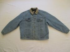 Mens XL Long Lee Blanket Lined Jean Jacket Light Blue Denim USA Made Vintage