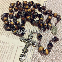 VINTAGE Tiger Eye Beads mens womans ROSARY Bronze CROSS CATHOLIC NECKLACE GIFT