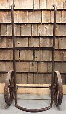 Antique Gas Station Oil Drum Barrel 50 Lb Cart Carrier Rack All Cast Iron SUPER!
