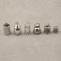 10 Antique Silver Barrel End Caps Bead Stopper For KUMIHIMO Bracelets & Necklace