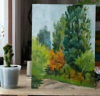 ORIGINAL Hand-made Landscape Painting Oil Wood Plein Air, Poplar Trees 16 In