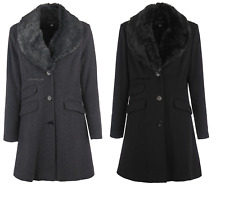 DE LA CREME CASHMERE WOOL JACKET FAUX FUR COLLAR BLACK/CHARCOAL WINTER COAT