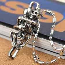 Homme Infini Tibet argent acier inoxydable noir crâne collier chaîne pendentif