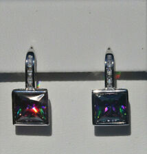 Echt 925 Sterling Silber Ohrringe Quadrat Zirkonia mystic topas Hochzeit Nr 257