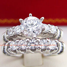 Genuine Solid 9ct White Gold Engagement Wedding 2 Rings Set Simulated Diamonds