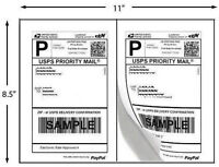 1000 Self Adhesive Shipping Labels 2 Lables Per Sheet USPS Paypal UPS 8.5x5.5