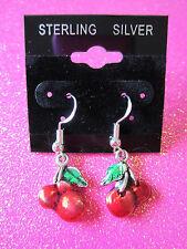 925 Sterling Silver Cherry Dangle Earrings