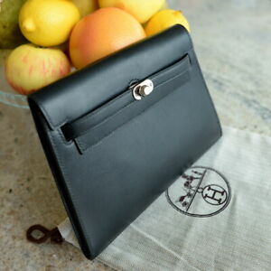 Rare HERMES Danse KELLY Clutch Black Box Calf Leather handbag ladies POCHETTE