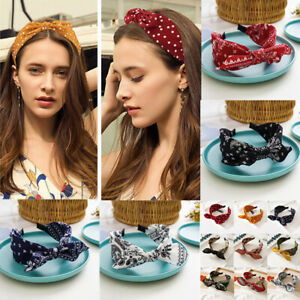 Women Boho Floral Print Headband Bow Wide Brimmed Head Hoop Cross Knot Hair Hoop