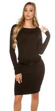 Sexy Kleid langarm Minikleid mit Gürtel Fein Strickkleid 34 36 38 Schwarz