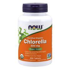 NOW Foods Chlorella 500 MG Usda Organique Certifié 200 Onglets Vert Super Frais