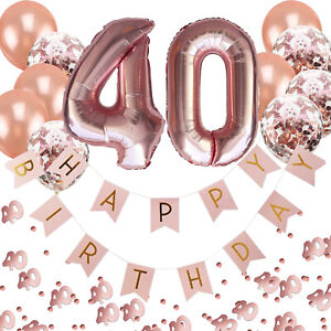 40. Geburtstag Deko Set - Folien Luftballons 40 Girlande Konfetti Ballons uvm.