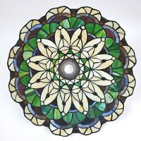 """Stained Glass Lamp Shade Arts & Crafts Floor Table Blue Green White Red 14"""""""