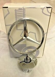 3D Chorme Zinc Alloy Front Hood Star Emblem Badge Ornament Fit Mercedes Benz box