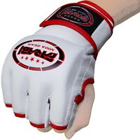 MMA Grappling Gloves Boxing Punch Bag Fight Cage Muay Thai Cowhide Leather White