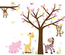 Safari Animal Tree Decal, Girls Room Animal Sticker, Nursery Tree Mural, Animals