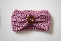 Handmade Crochet Baby Wooden Button Headband in sizes 0-12 months,made to order