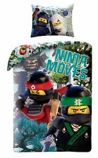LEGO NINJAGO Movie Ninja Moves Kids Single Bed Duvet Cover Set 100% COTTON brick