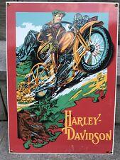 """VINTAGE HARLEY DAVIDSON MOTORCYCLE DEALER 16"""" X 11"""" PORCELAIN METAL GAS OIL SIGN"""