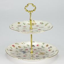 NEW Vintage style 2 tier cake stand wedding garden High tea porcelain cupca