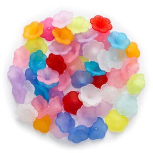 50 Pcs Random Mixed Acrylic Spacer Flower Beads Findings Jewelry Making 12-21mm