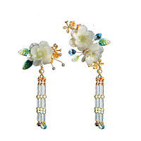 Retro Women Girls Flowers Hair Pin Accessory  for Kimono Hanfu Party Cosplay