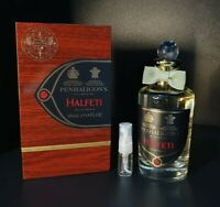 PENHALIGONS HALFETI EAU DE PARFUM EDP PERFUME SAMPLE 2ML ATOMISER GLASS SPRAY.