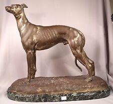 Superb Antique Bronze Male Greyhound Sculpture Inscribed S. Bizard