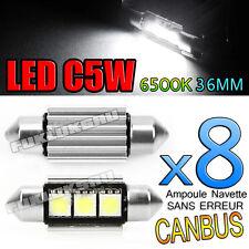 8 AMPOULES NAVETTE LED C5W 36mm 6500k ANTI SANS ERREUR CANBUS PLAFONNIER PLAQUE