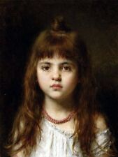Oil Alexei Alexeivich Harlamoff  - Little girl wearing The Red Necklace Hand pai