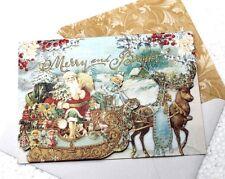 pUNCH sTUDIO Single(1) Dimensional Holiday Card - Victorian Santa Sled