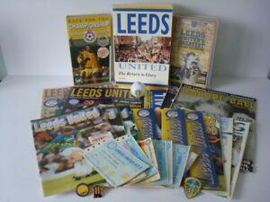 LEEDS UNITED 1990s Memorabilia Bundle - Badges, Book, Progs, Tickets, Vids, more