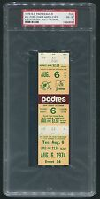 1974 Padres Full Ticket PSA 8 Hank Aaron Last Multi HR Game #727/#728