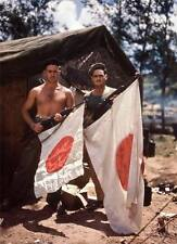COLOR WWII  Photo US Soldiers Pose with Captured Japanese Flag   WW2 / 1150