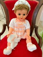 """Vtg Hand Crocheted Peach & White Outfit (DOLL NOT INCLUDED) Fits 18-24"""" Dolls"""