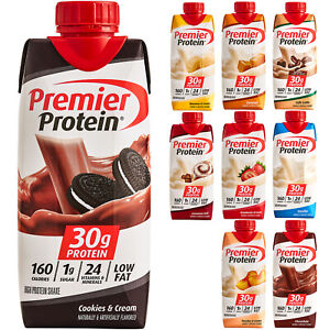 Premier Protein Shake Cookies & Cream 30g Protein Low Fat (11 oz) - Pack of 12