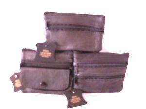 3 SOFT LEATHER BLACK SMALL ZIPPED PURSE KEY RING ZIP POCKET MONEY UNISEX