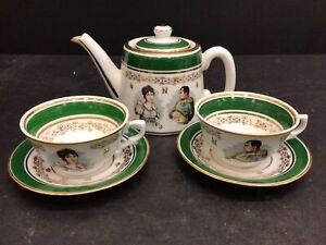French Porcelain De Luxe Napoleon Green Gold Tea Set Pot Cups Saucers