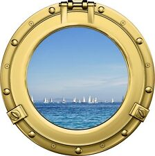 "12"" Porthole Sea Window View SAIL BOATS #2 BRASS Wall Decal Graphic Sticker"