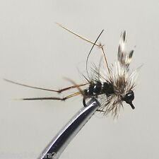 6pcs Half Dozen Bass Trout Salmon Steelhead Fly Fishing Flies Black Mosquito
