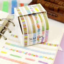 6/set 7mm bunt Washi Masking Tape Klebeband Klebebänder Papier Deko Aufkleber ##