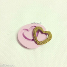 STAMPO STAMPINO SILICONE MOLD CUORE HEART EARRING BASE CORNICE FIMO CLAY RESINA