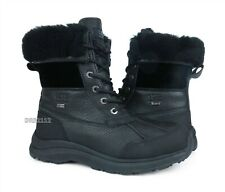 UGG Adirondack III Velvet Black Leather Fur Boots Womens Size 8 *NEW*