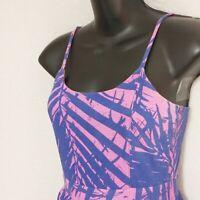 Roxy Size S Small Pink & Blue Mini Sundress With Tiered Ruffles